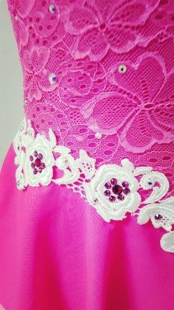 画像5: ストレッチレースのフラワーワンピース(ピンク)