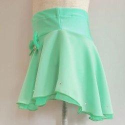 画像3: シフォンジョーゼット2段スカート(グリーン系) スワロフスキーストーン付き