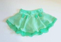 画像1: シフォンジョーゼット2段スカート(グリーン系) スワロフスキーストーン付き
