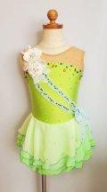 お花とリボンのふわふわドレス(グリーン系)