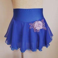 画像2: ジョーゼットの2段スカート モチーフ付き (ブルー系)
